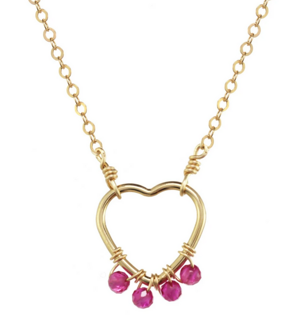 Gold-filled Ruby Wire Heart Necklace
