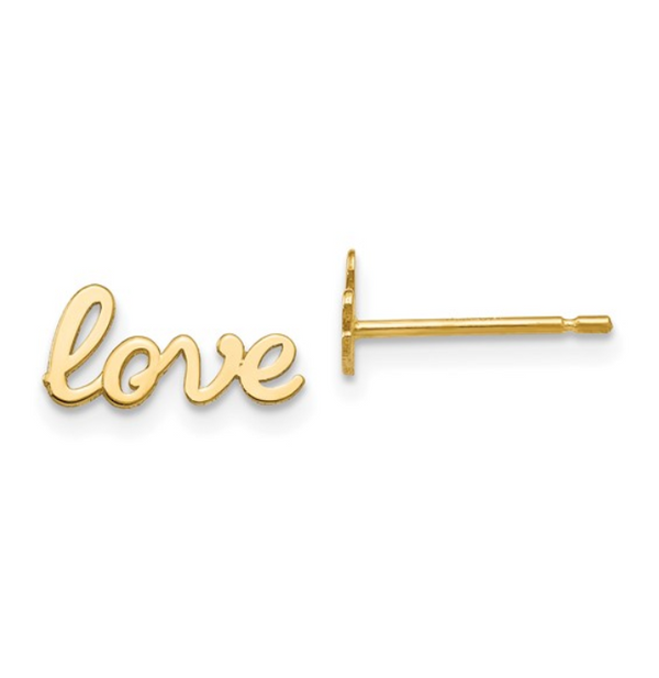 Gold Love Script Stud Earrings