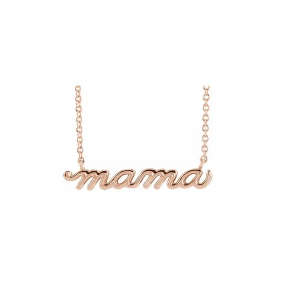 "Petite Rose Gold ""mama"" Script Necklace"