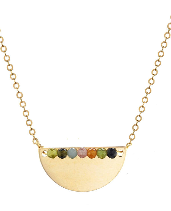 Multicolor Faceted Tourmaline Bead Necklace