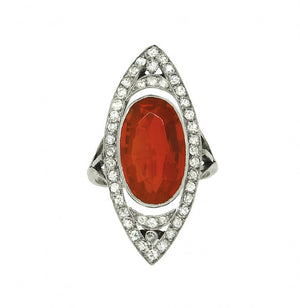 Fire Opal and Diamond Ring - vintage