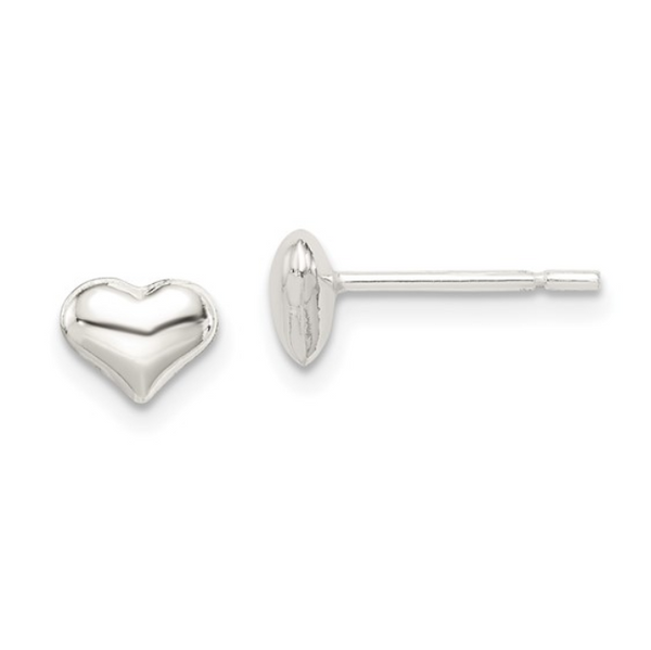 Mini Silver Heart Stud Earrings