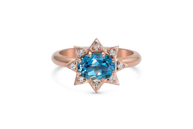Blue Topaz and Diamond Starburst Ring