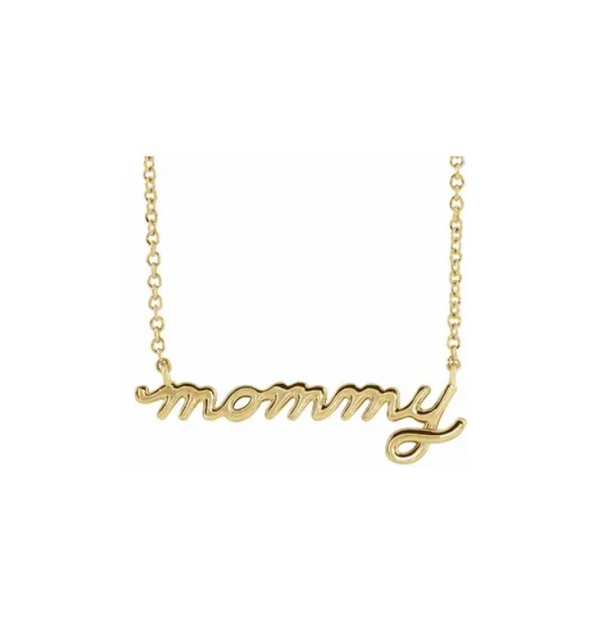 "Petite ""mommy"" Script Necklace - available on special order"