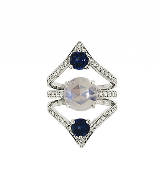 Moonstone, Sapphire and Ring