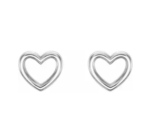 Mini Silver Open Heart Stud Earrings