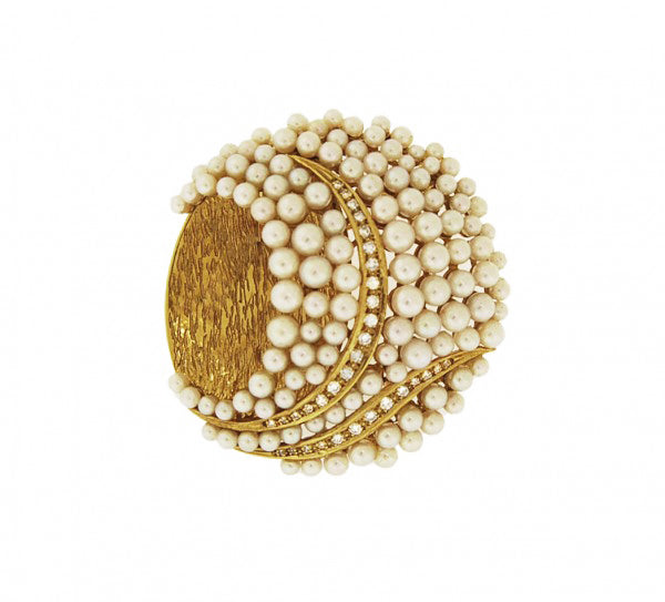 Diamond and White Pearl Brooch/Pendant by Gellner