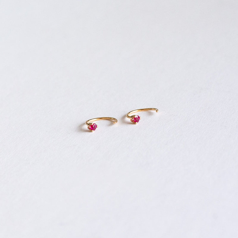Petite Ruby Open Hoop Earrings