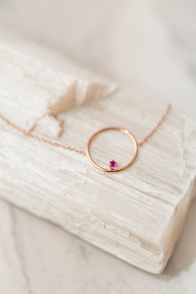Rose gold circle bracelet with Ruby