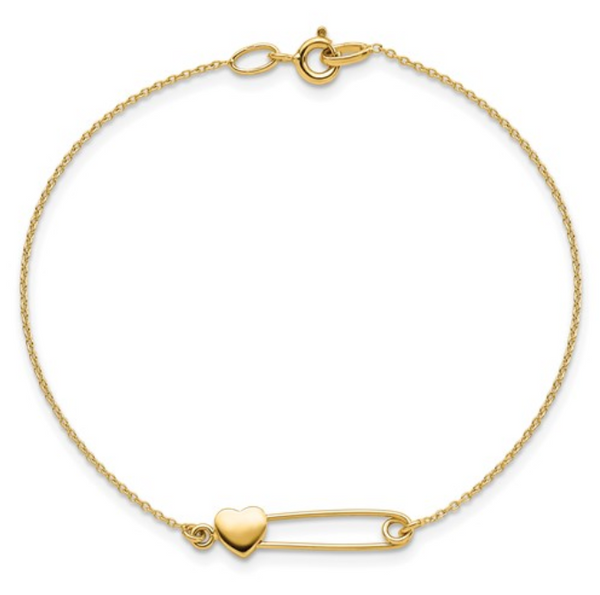 Safety Pin with Heart Bracelet