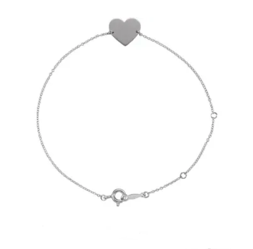 Sterling Silver Engravable Heart Bracelet