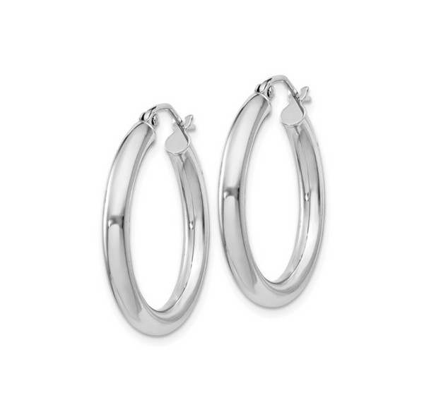 Silver Polished Hollow 25mm Hoop Earrings - available on special order