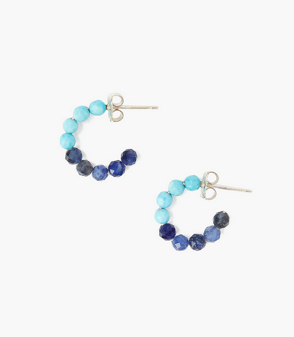 Mini Beaded Turquoise and Sodalite Huggie Earrings