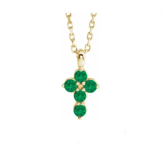 Emerald Mini Cross Necklace - available on special order