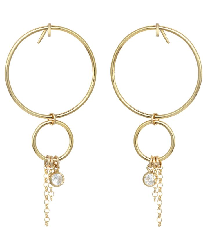 Gold-filled Cubic Zirconia Chain Drop Earrings