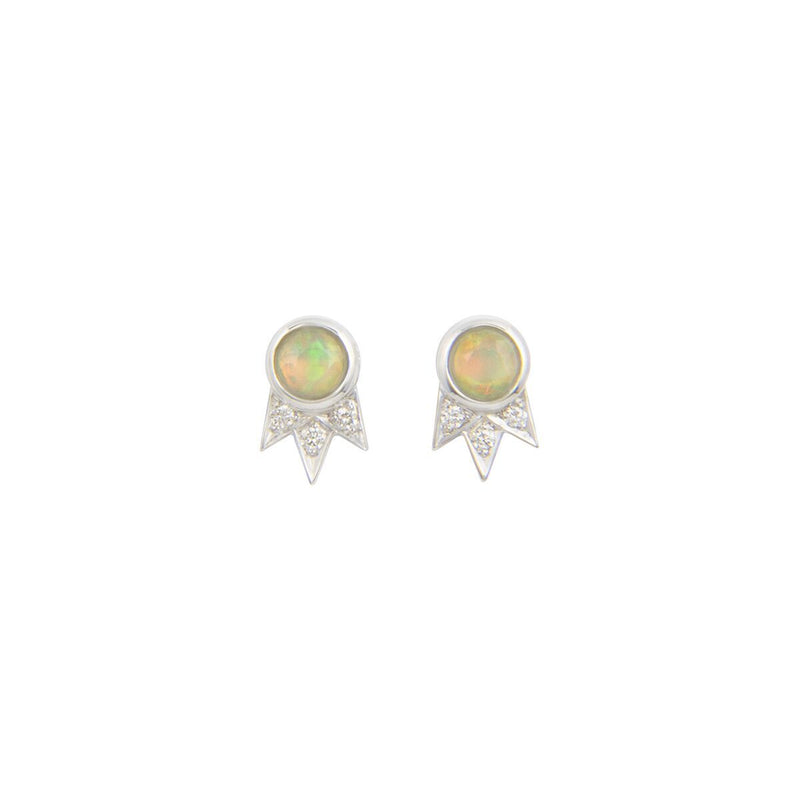 Opal and Diamond White Gold Starburst Stud Earrings