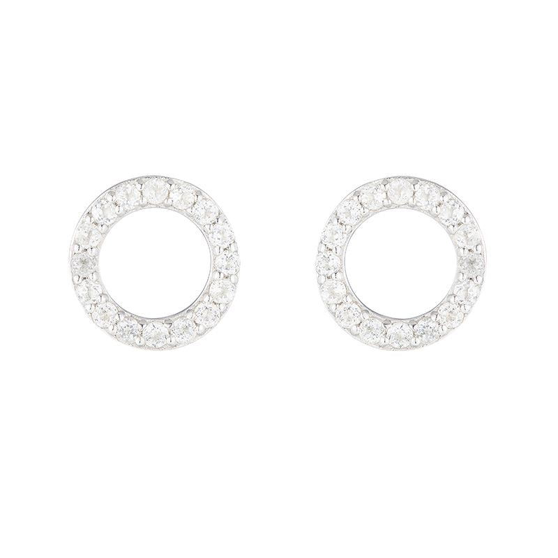 Sterling Silver White Topaz Circle Earrings