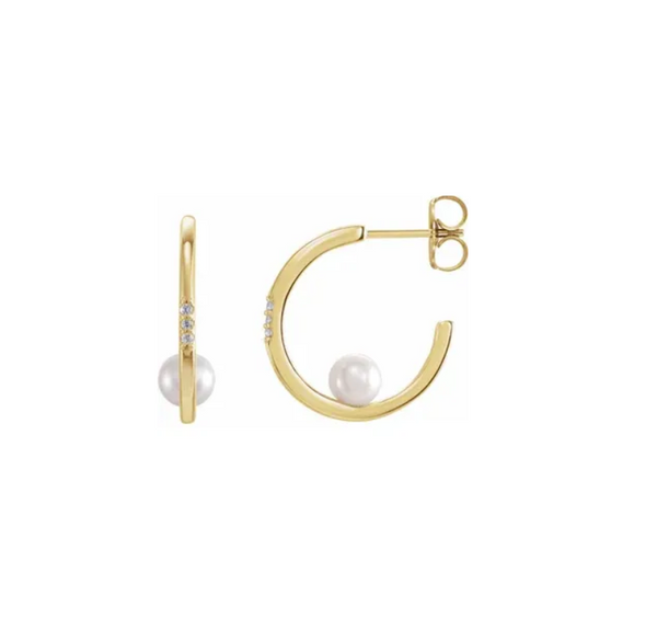 Freshwater Cultured Pearl and Diamond Hoop Earrings - available on special order