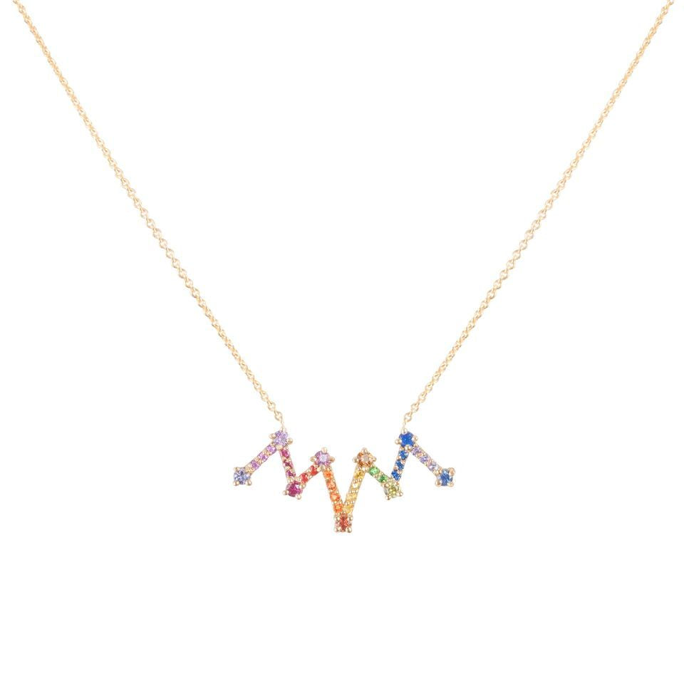 "14K yellow gold fancy color Sapphire "" Accordion "" necklace"