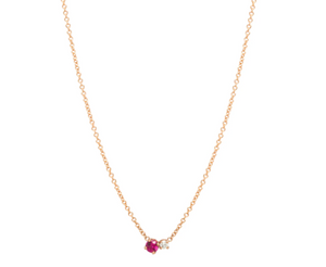 Rose Gold Petite Ruby and Diamond Necklace