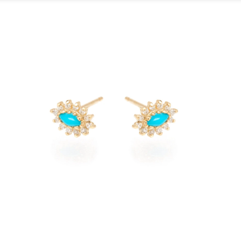 Marquis Turquoise and Diamond Stud Earrings