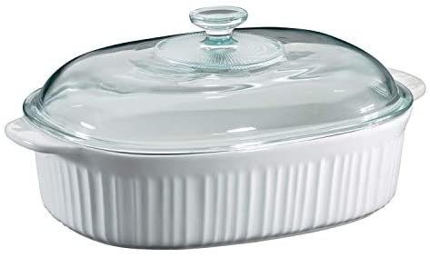 CorningWare French White 4 Quart Oval Casserole w/ Glass Cover