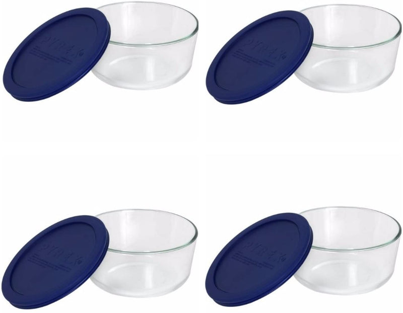 Pyrex Storage Plus 7-cup Round Glass Food Storage Dish Blue Plastic Cover