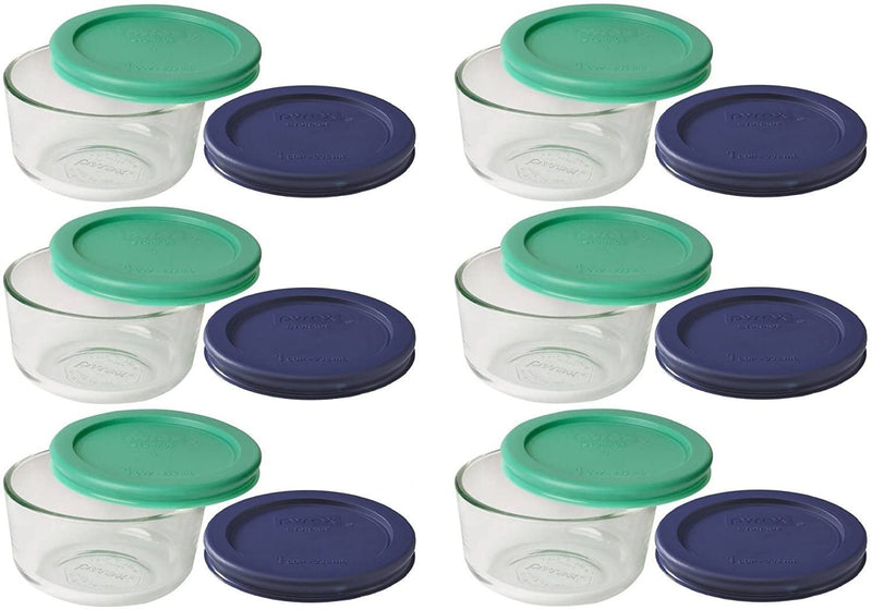 Pyrex Storage 1 Cup Round Dish, Clear with Green + Blue Lids set