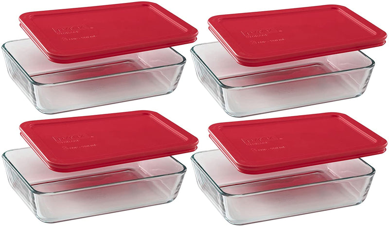 Pyrex 3-Cup Rectangle Food Storage with red lid cover