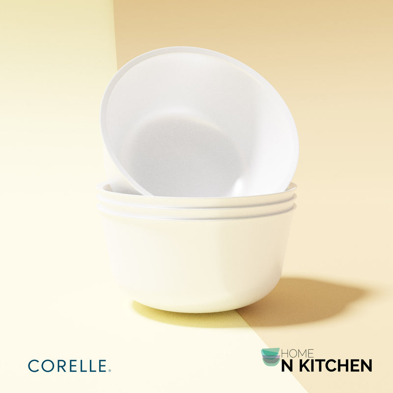 CORELLE Winter Frost White Livingware Soup, Cereals, Dessert Bowls 28oz, Set of 4