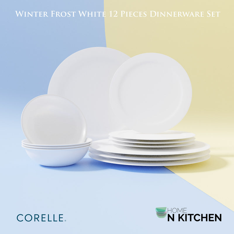CORELLE Livingware Winter Frost White Dinnerware Set of 12