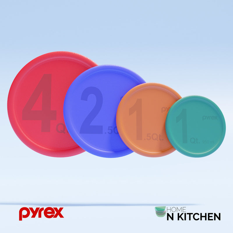 Pyrex Multicolored and Multi-Sizes Mixing Bowl Round Replacement Lid Set