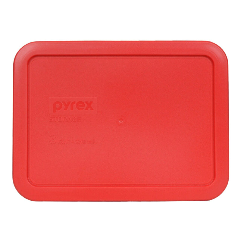 Pyrex 3 cup rectangle plastic lid, red