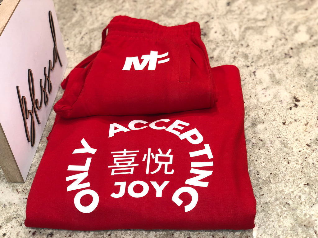 LUXE RED 'ONLY JOY' JOGGER SET