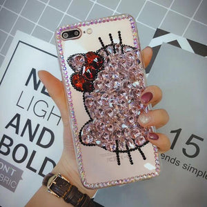3D Cute Kitty Cat Case For IPhone X Case Glitter Fundas Diamond