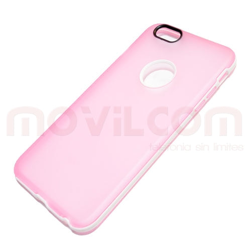 Funda flexible iPhone 6 plus rosa mate borde blanco (agujero