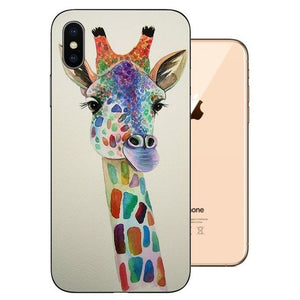 Funda iPhone XS Gel TPU Dibujo Jirafa Cool