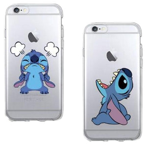 Funny Cute Stitch Cartoon Emoji Soft TPU Clear Phone Case Fundas