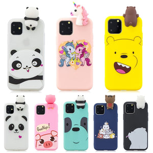 Kawaii Panda Unicorn Cat Pig Cover For Coque iPhone 11 Case 3D