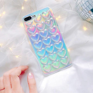 Luxury laser shinning love hearts glitter Phone Case  Fundas para