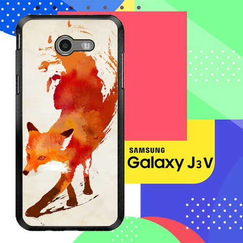 Watercolor art orange red fox animal F0246 Samsung Galaxy J3 Emerge, J3 Eclipse , Amp Prime 2, Express Prime 2 2017 SM J327 coque fundas