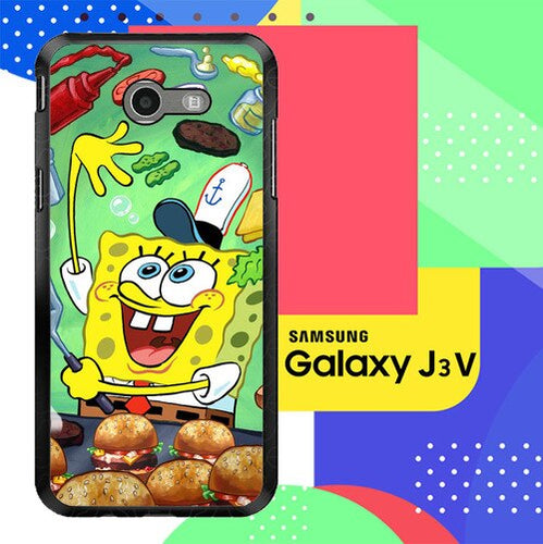 Spongebob Squarepants krabby patty Z0046 Samsung Galaxy J3 Emerge, J3 Eclipse , Amp Prime 2, Express Prime 2 2017 SM J327 coque fundas