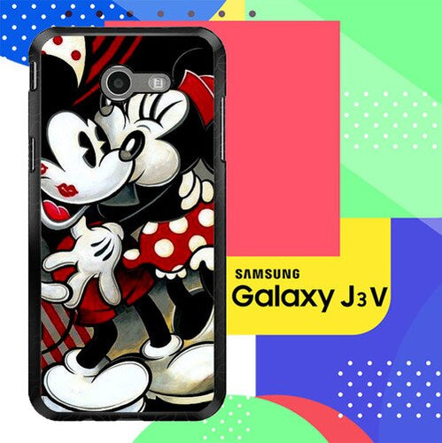 Hugs and Kisses  Mickey Minnie mouse Z1557 Samsung Galaxy J3 Emerge, J3 Eclipse , Amp Prime 2, Express Prime 2 2017 SM J327 coque fundas