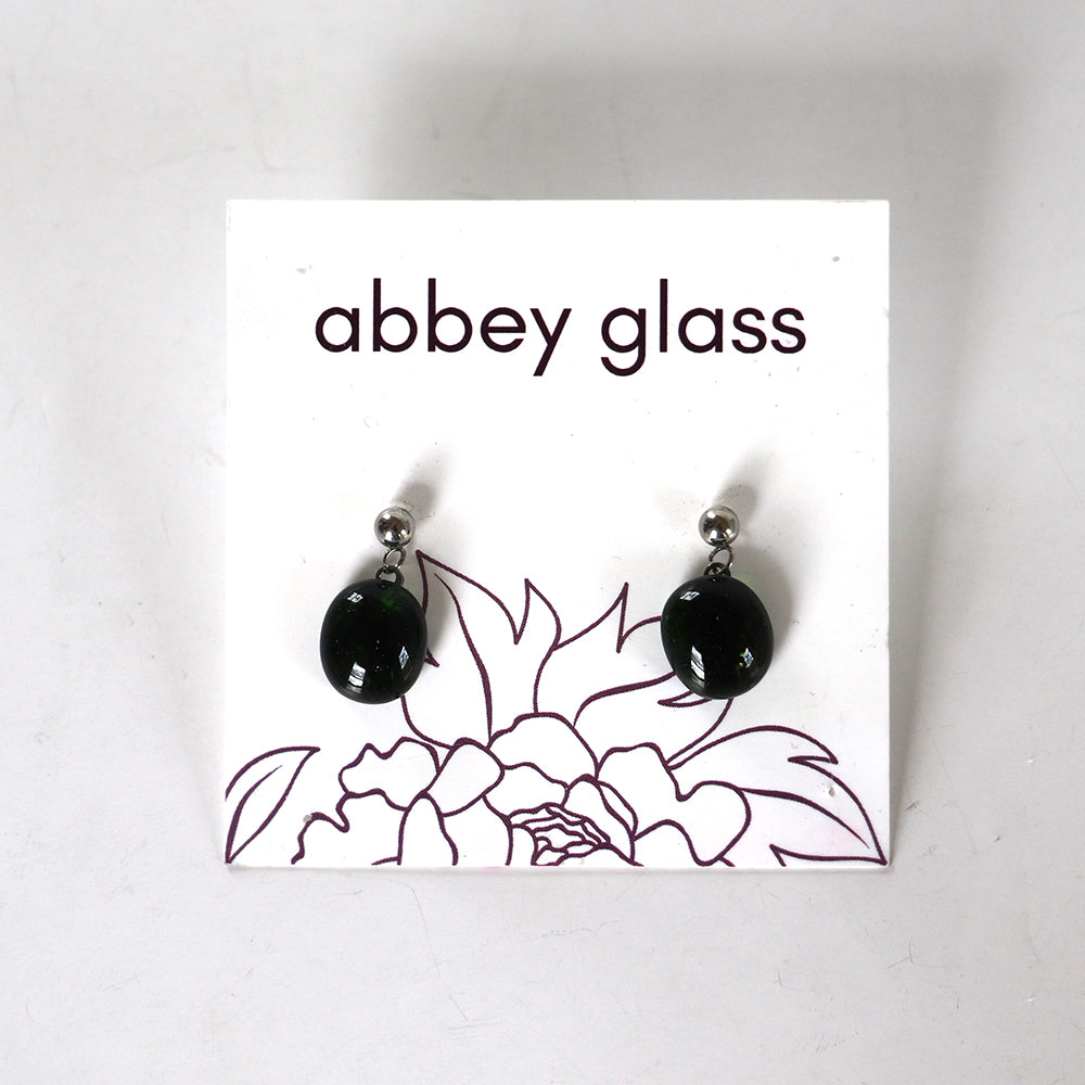 earrings, fused glass drop