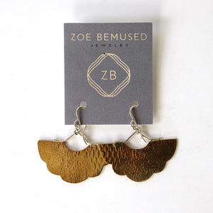 Earrings, brass roller print fan