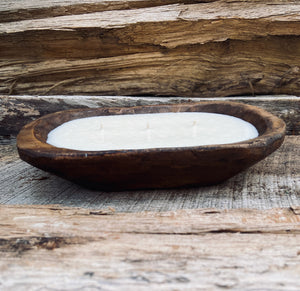 Wooden Dough Bowl Candle | Hand Poured 100% Soy Wax Rustic, Farmhouse Candle