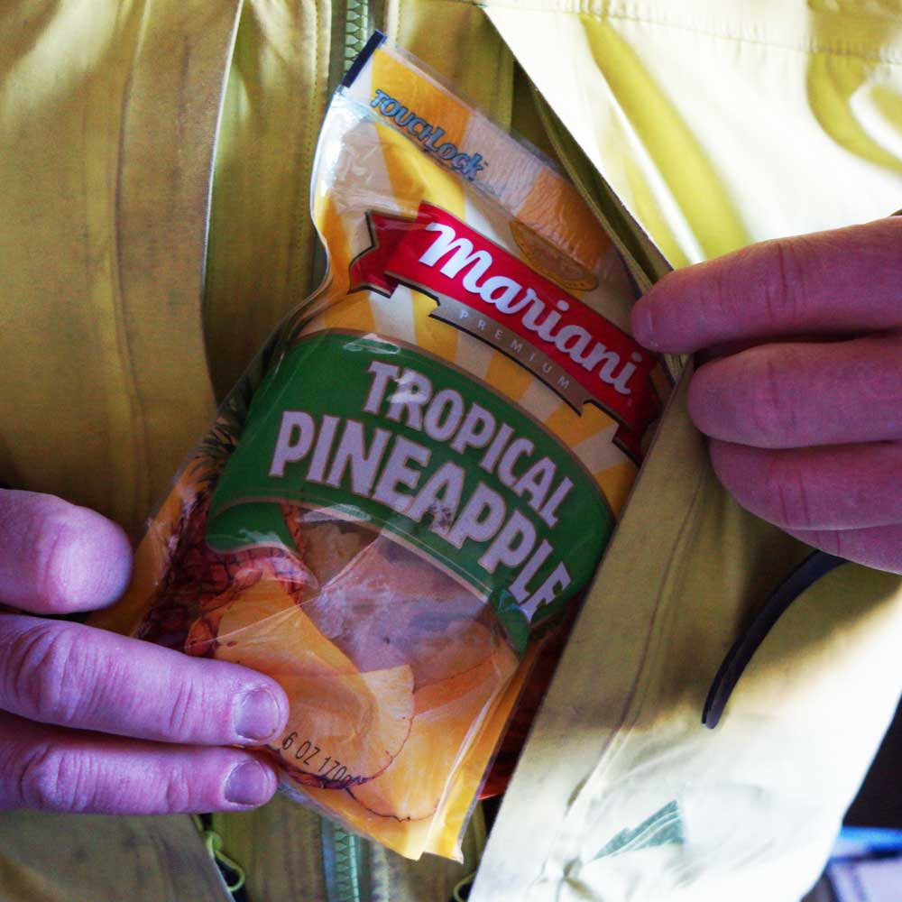 dried pineapple into pocket
