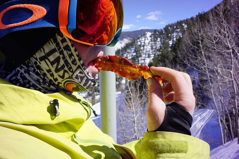 eating bacon on chairlift