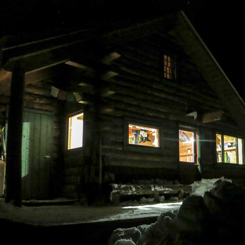 Friends Hut at night