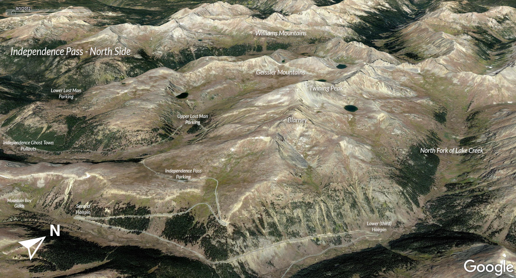 Google Earth view of Independence Pass North